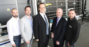 Mike Wood MP with the ESG Directors, opening their second high volume Super Spacer line (L-R Luke Walker, Alex Walker, Mike Wood MP, Ken Walker and Elliot Walker) copy