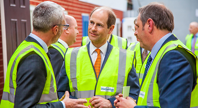 The Earl of Wessex officially opens Distinction Doors' paint plant