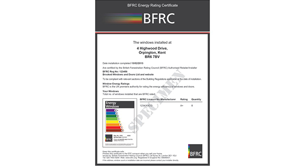 25,000th BFRC HOMEOWNER ENERGY RATINGS CERTIFICATE ISSUED