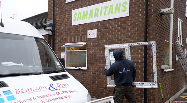 APPROVED INSTALLER BENNION & SONS KITS OUT SAMARITANS OFFICE WITH VEKA M70