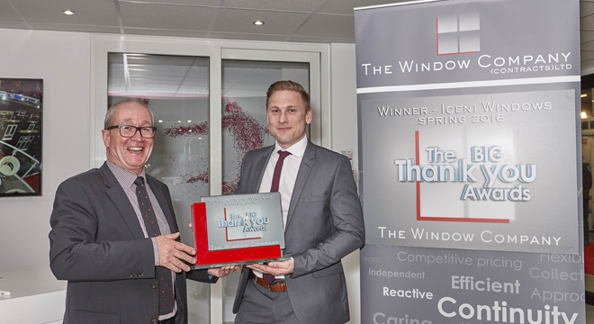 THE WINDOW COMPANY (CONTRACTS) GIVES A BIG THANK YOU AWARD TO ICENI WINDOWS AT THE FIT SHOW