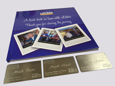 Scrapbook and Stainless Steel Trade Cards.