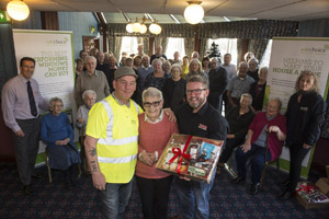 Left to right:  Duncan Sutherland (McKnight and Sons Builders) Muriel Thoburn (Willow Park resident) and Ian Goode (Trade Window and Door Centre)