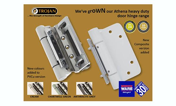 WINDOW WARE EXTENDS ITS RANGE OF TROJAN'S POPULAR POWERHOUSE ATHENA DOOR HINGE