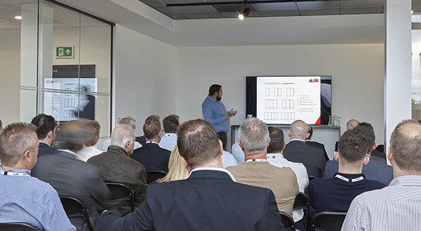 ALUK37 Dale Pegler introducing the new F82 door at the launch of the AluK Luminia Select Partner scheme