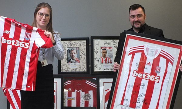 LISTERS CENTRAL GENEROUSLY DONATES STOKE CITY MEMORABILIA TO LOCAL STAFFORDSHIRE HOSPICE