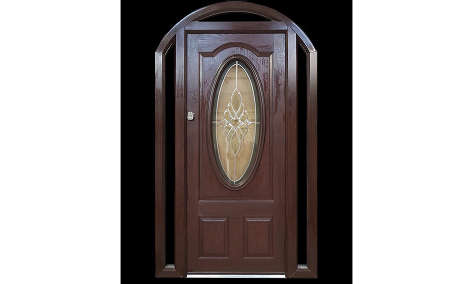ARCHED COMPOSITE DOOR WITH OVAL GLASS