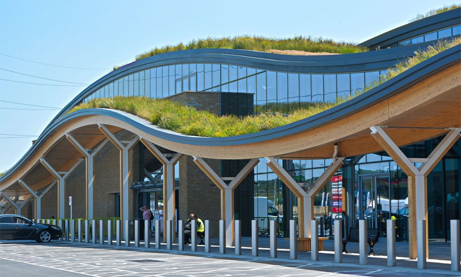 NEW MOTORWAY SERVICES CROWNED BY INNOVATIVE WILDFLOWER ROOF