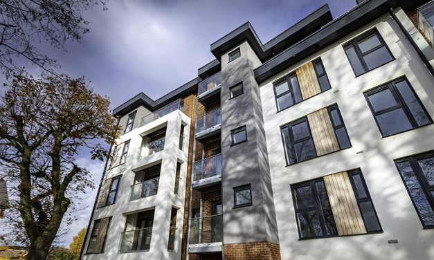 PROFILE 22 OPTIMA WINDOWS FITTED IN CONTEMPORARY NEW HOUSING DEVELOPMENT